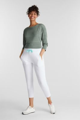 Ankle-length jersey trousers with mesh details, WHITE, detail