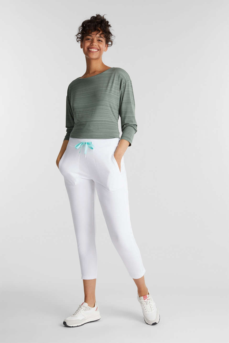 Ankle-length jersey trousers with mesh details, WHITE, detail image number 1
