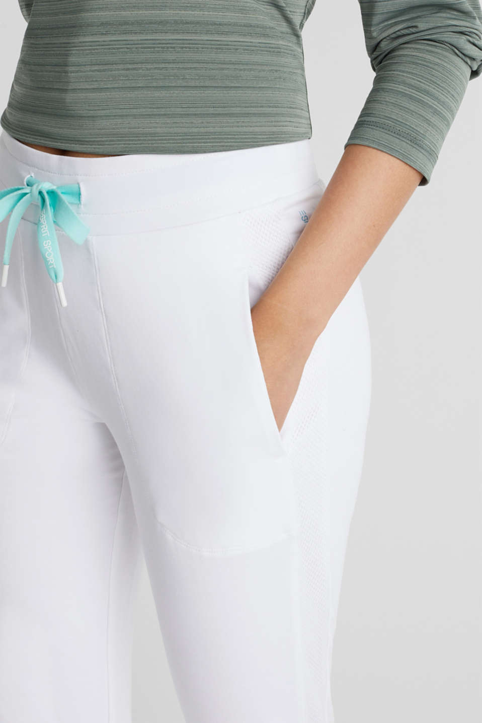Ankle-length jersey trousers with mesh details, WHITE, detail image number 2