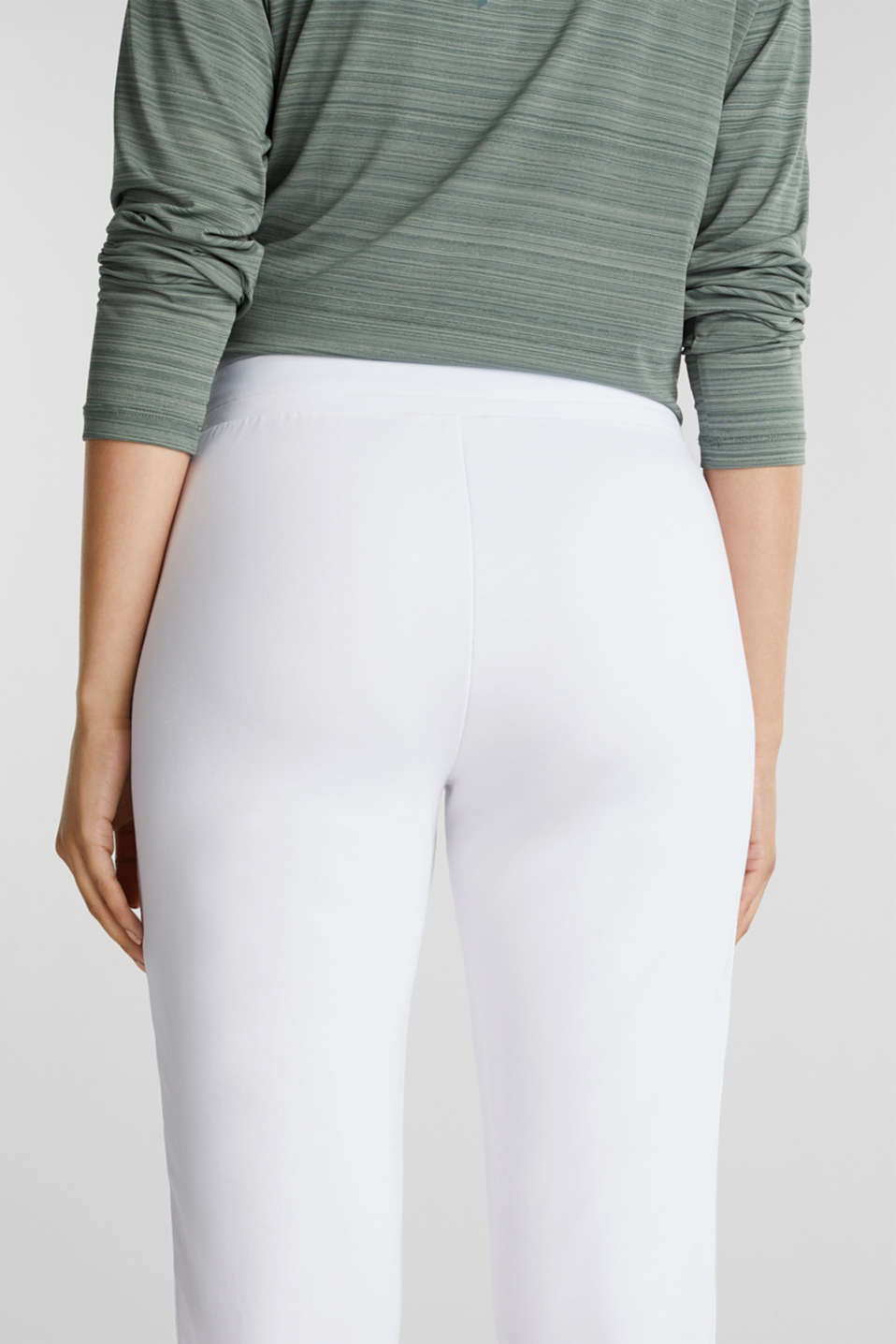 Ankle-length jersey trousers with mesh details, WHITE, detail image number 5