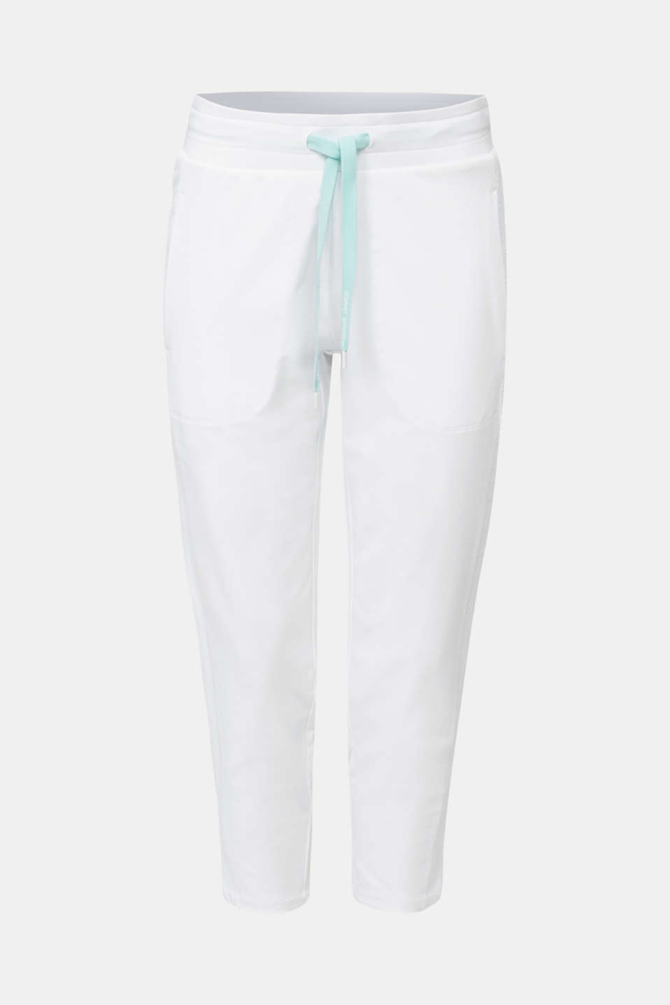 Ankle-length jersey trousers with mesh details, WHITE, detail image number 6