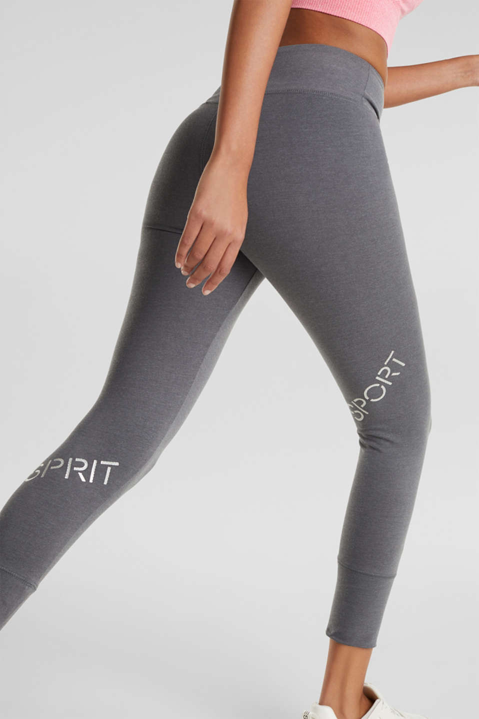 Stretch jersey trousers with a logo print, DARK GREY 2, detail image number 3