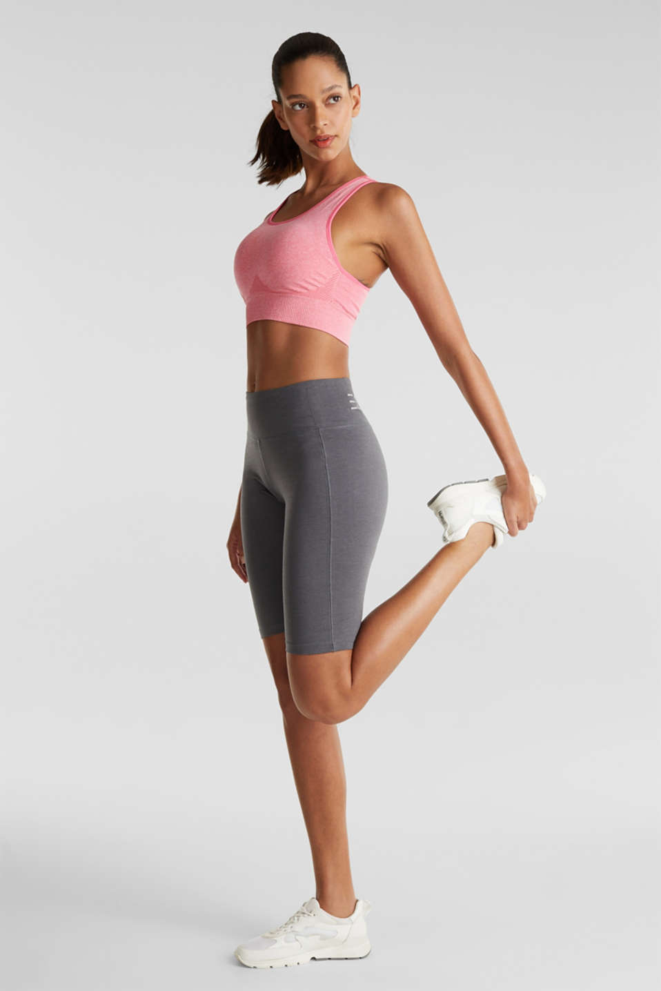 Cropped leggings with a shiny print, DARK GREY 2, detail image number 0