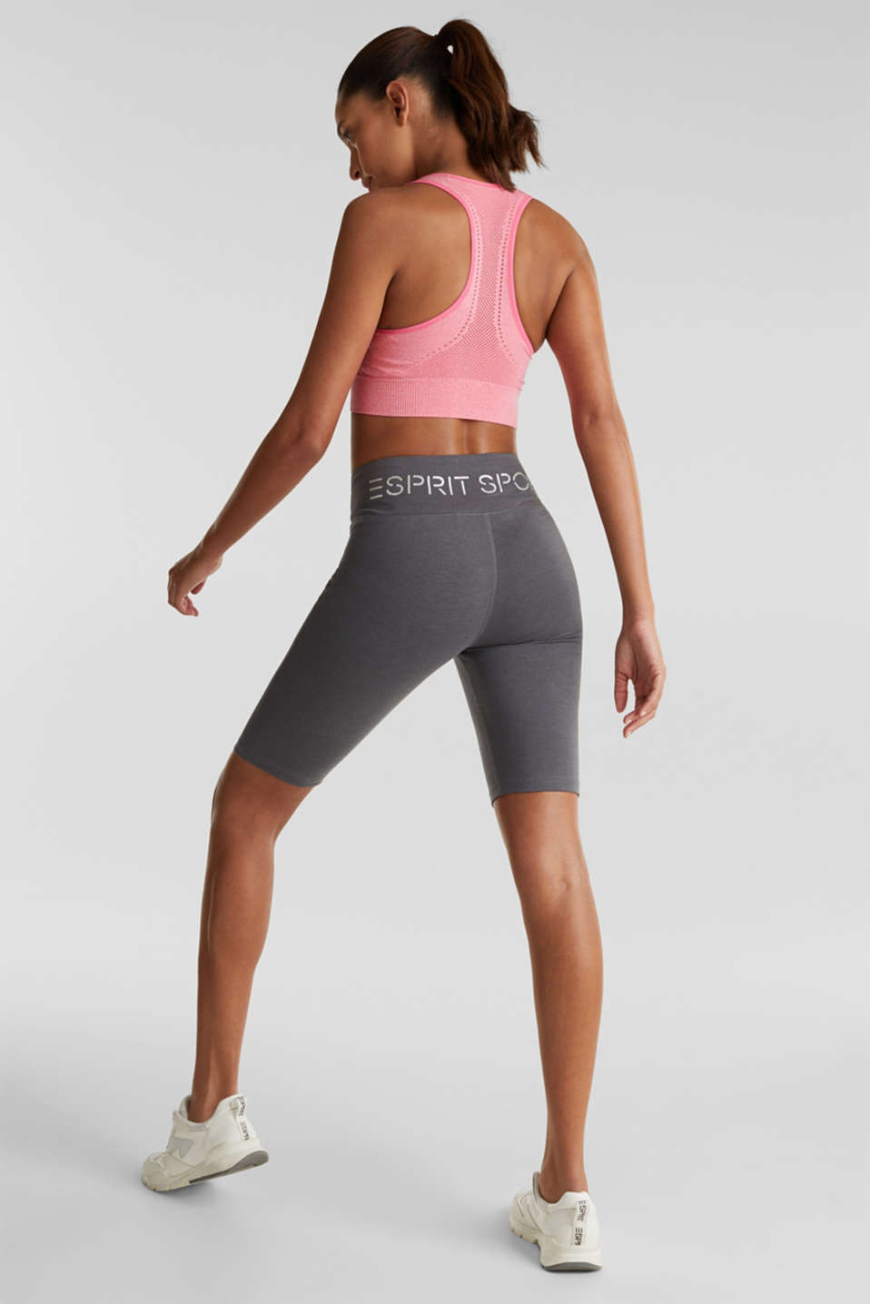 Cropped leggings with a shiny print, DARK GREY 2, detail image number 2