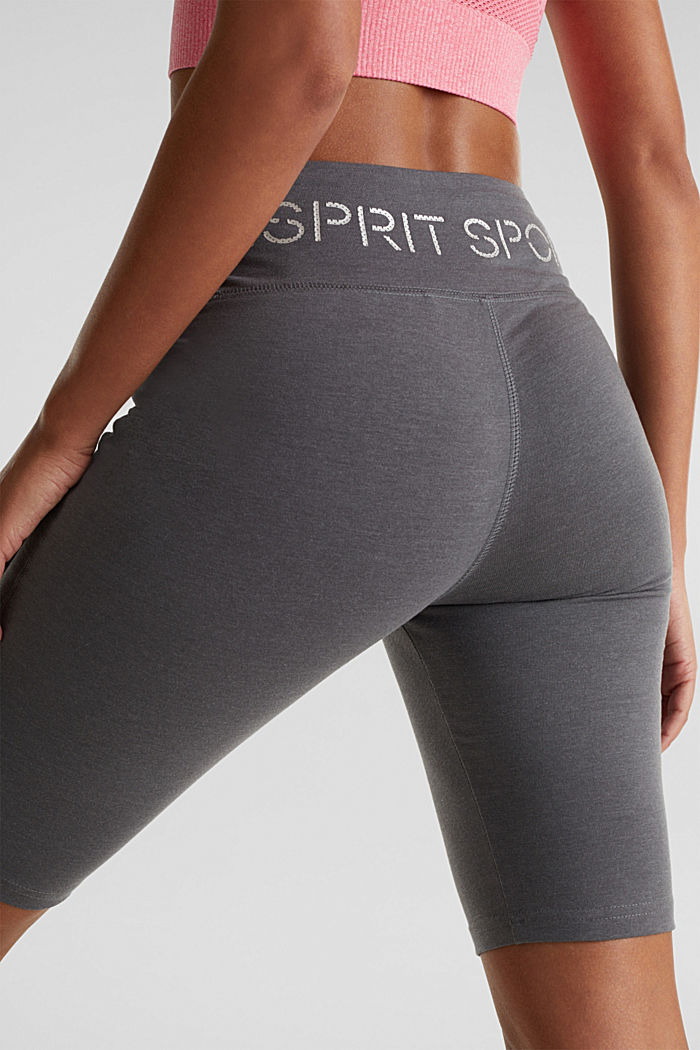 Cropped leggings with a shiny print, DARK GREY, detail image number 1