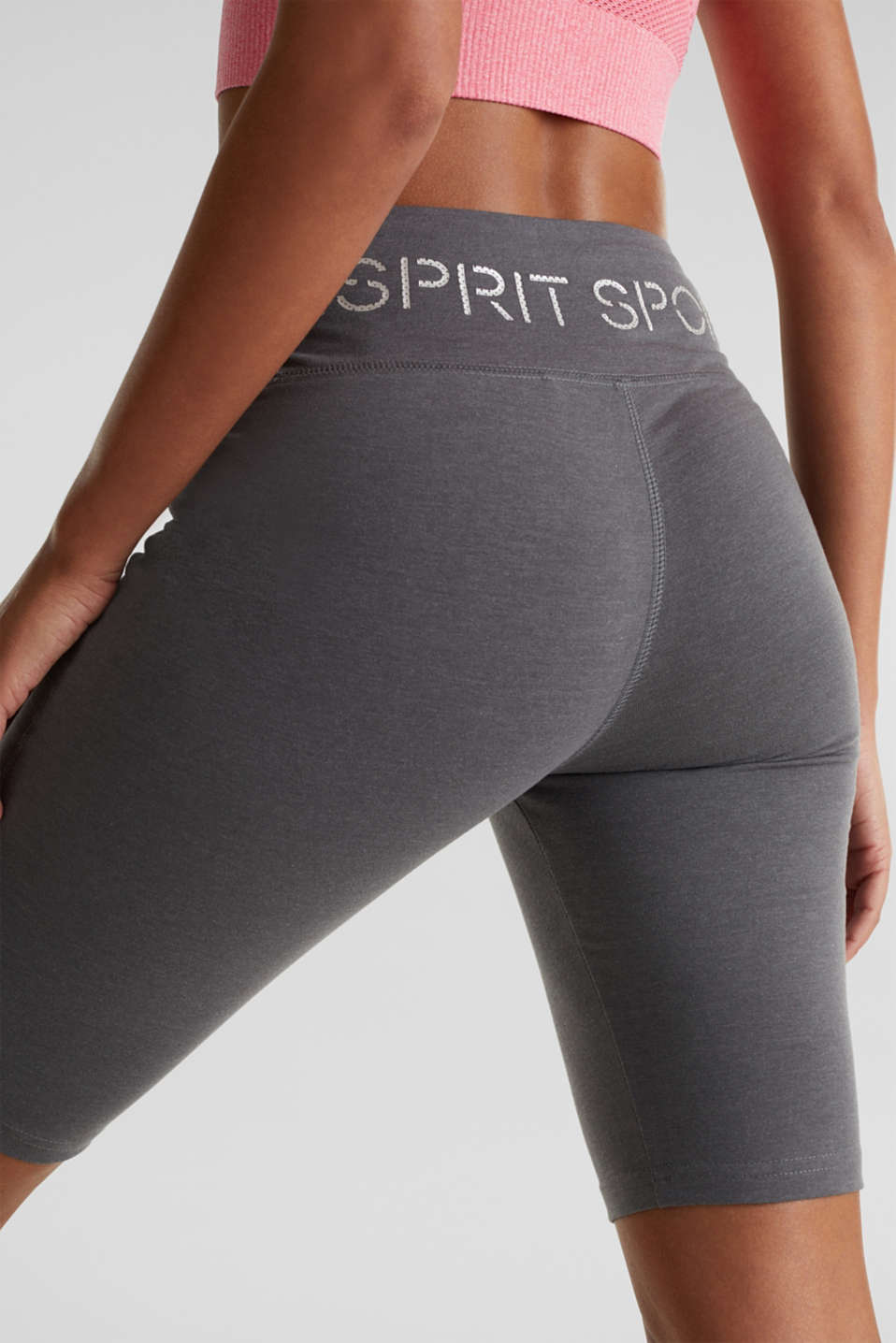 Cropped leggings with a shiny print, DARK GREY 2, detail image number 1