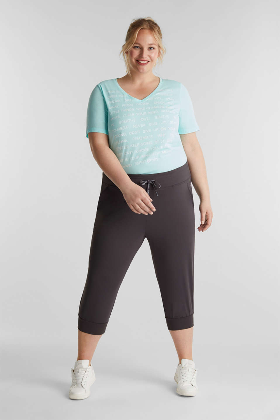 CURVY ankle-length leggings, E-DRY, ANTHRACITE, detail image number 0