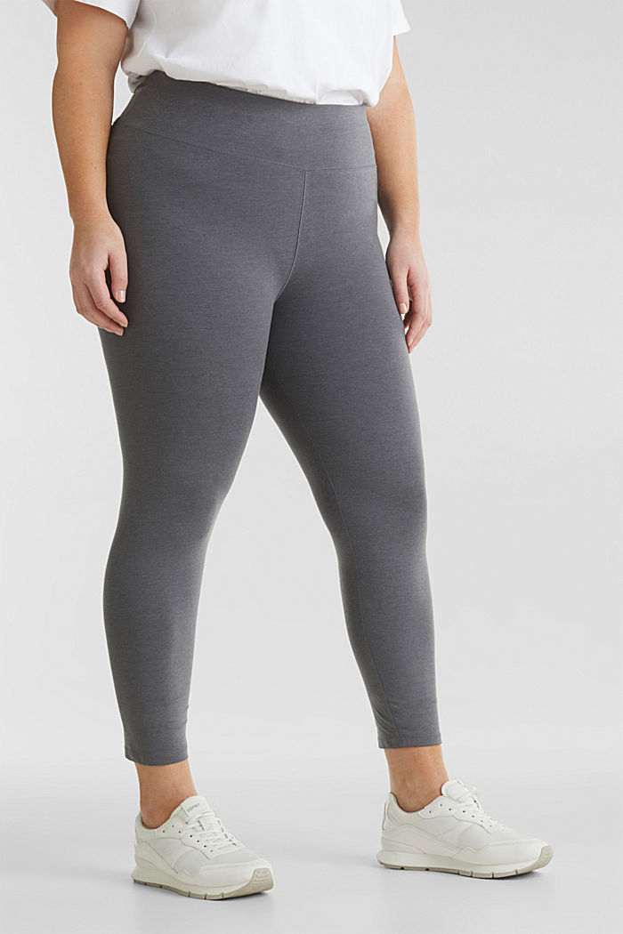 CURVY leggings with shiny statements, DARK GREY, detail image number 0