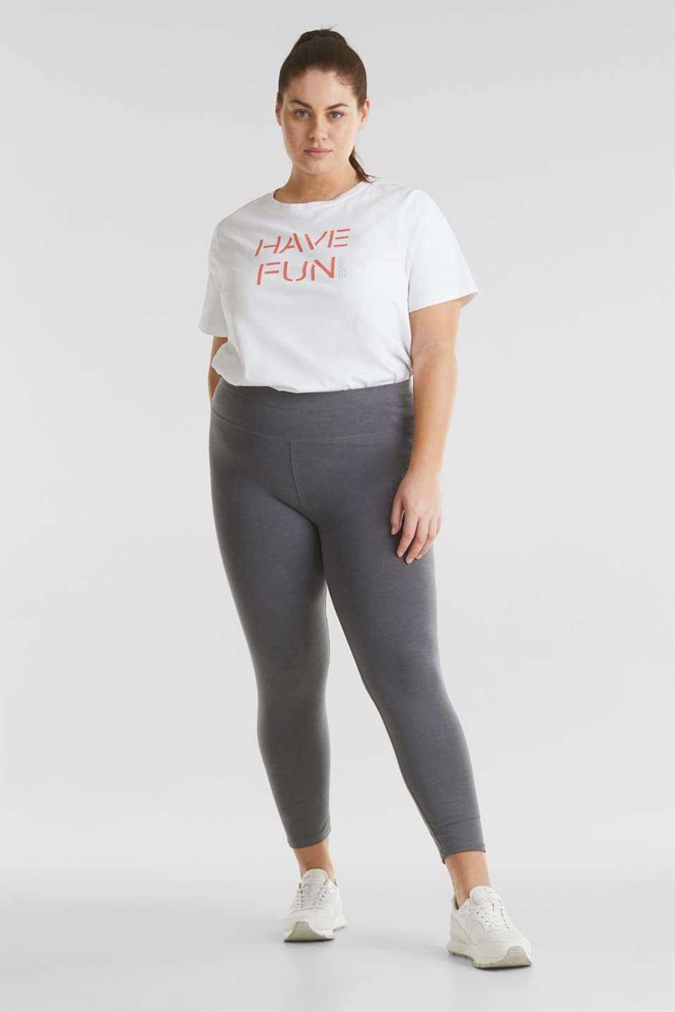 CURVY leggings with shiny statements, DARK GREY 2, detail image number 6