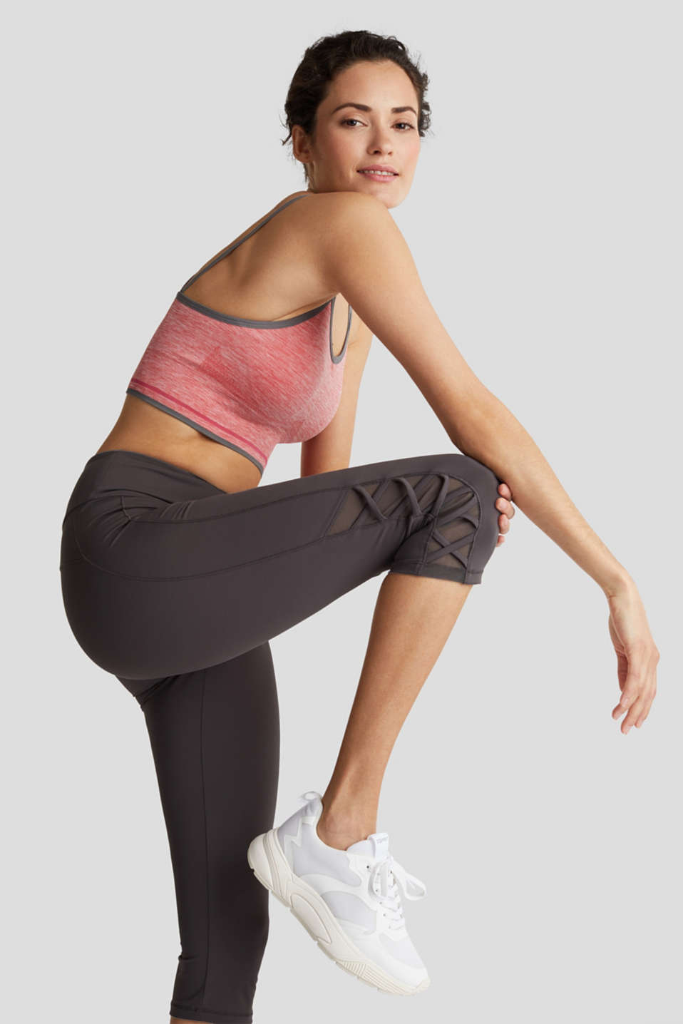 E-DRY leggings with mesh details, ANTHRACITE, detail image number 0
