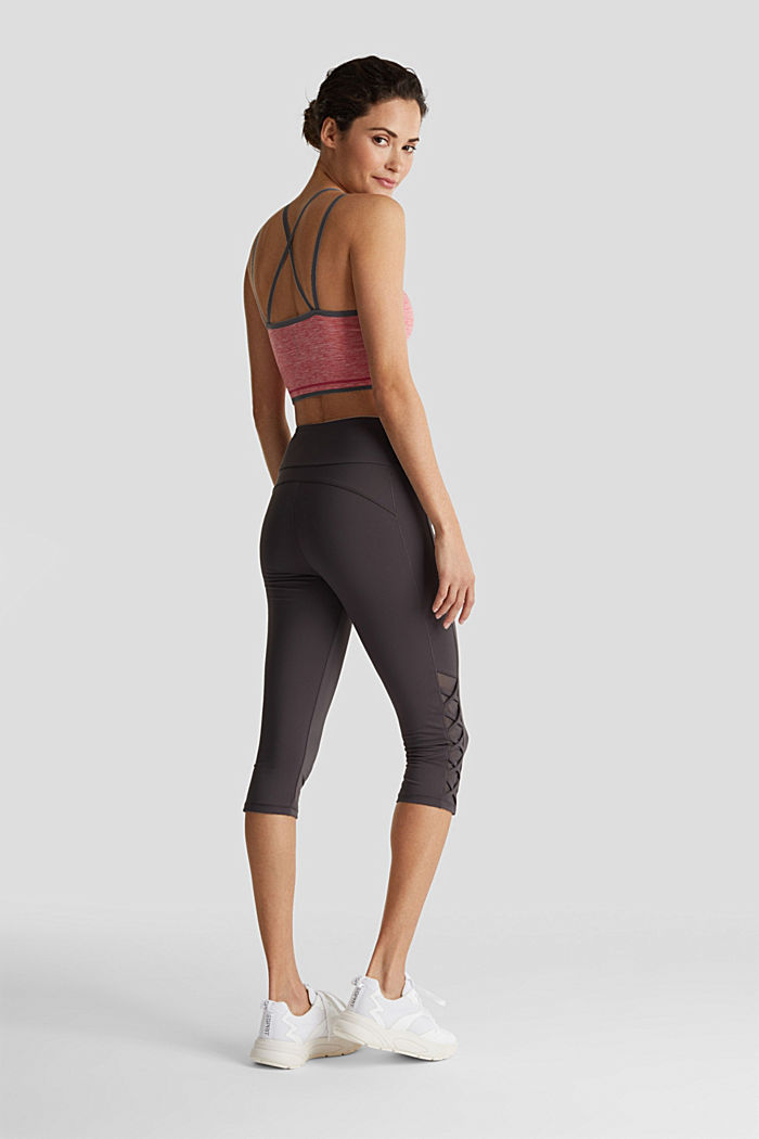 E-DRY leggings with mesh details, ANTHRACITE, detail image number 3