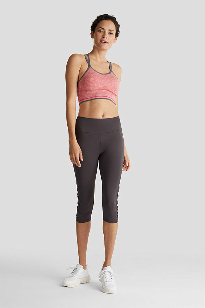 E-DRY leggings with mesh details, ANTHRACITE, detail image number 1
