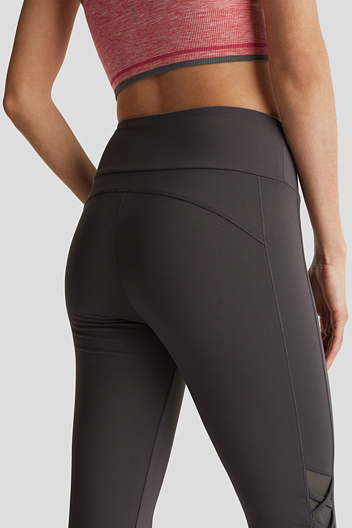 E-DRY leggings with mesh details, ANTHRACITE, detail image number 2