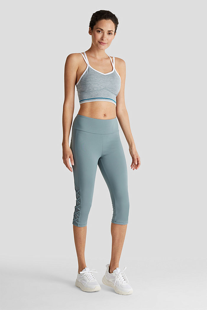 Leggings mit Mesh-Details, E-DRY, DUSTY GREEN, detail image number 1