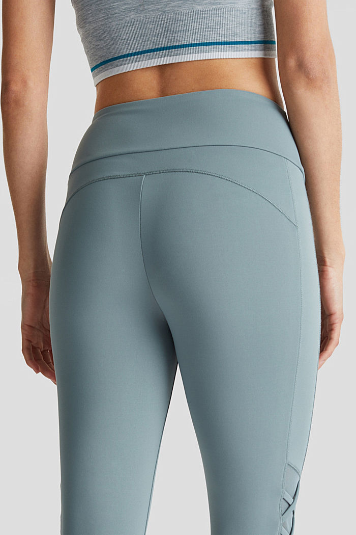 Leggings mit Mesh-Details, E-DRY, DUSTY GREEN, detail image number 2