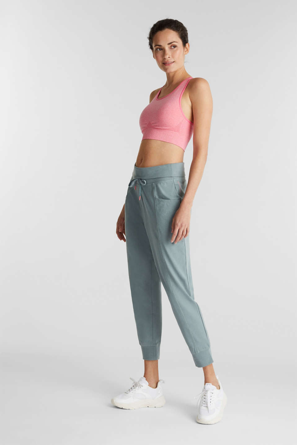 Ankle-length, jersey stretch trousers, DUSTY GREEN 2, detail image number 1