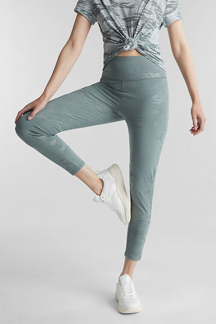 Ankle-length patterned leggings, organic cotton, DUSTY GREEN, detail image number 0