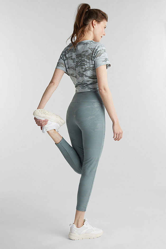 Ankle-length patterned leggings, organic cotton, DUSTY GREEN, detail image number 3
