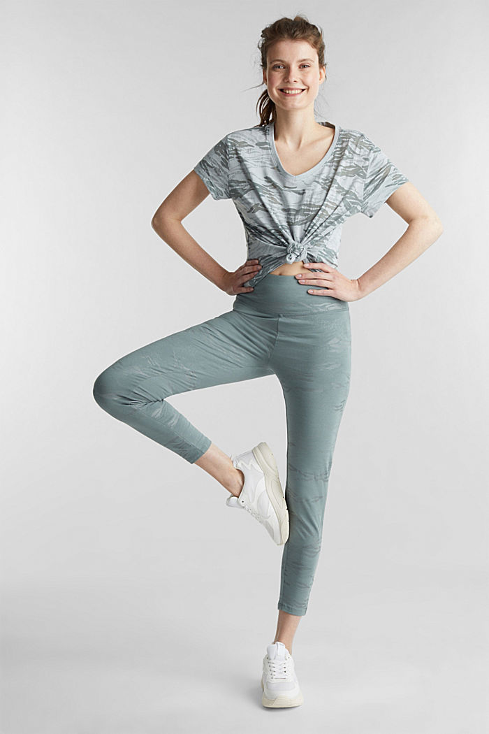 Ankle-length patterned leggings, organic cotton, DUSTY GREEN, detail image number 1