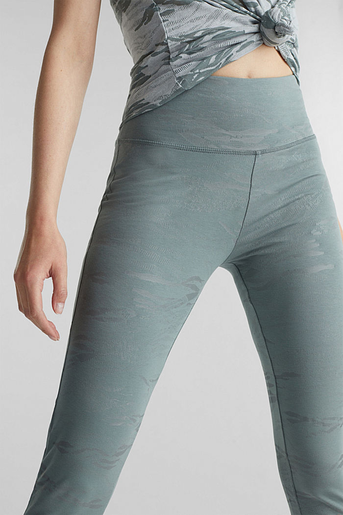 Ankle-length patterned leggings, organic cotton, DUSTY GREEN, detail image number 2
