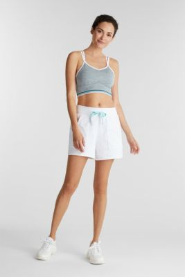 Sweatshirt fabric shorts with mesh pockets, WHITE, detail