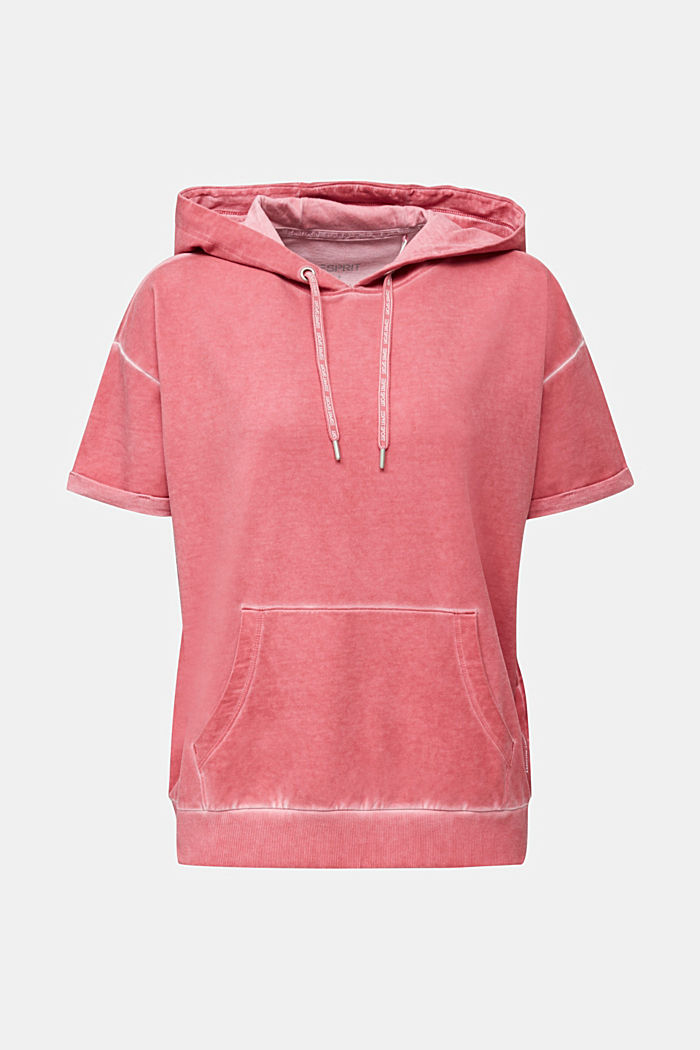 Short-sleeved hoodie in a vintage look, CORAL RED, detail image number 5