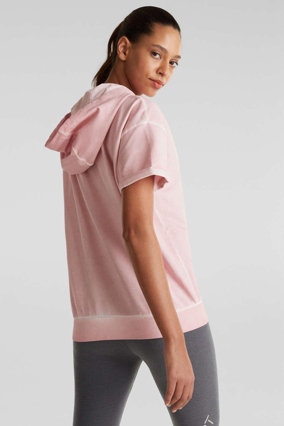 Short-sleeved hoodie in a vintage look, LIGHT PINK, detail image number 2