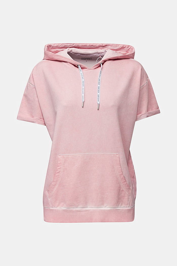 Short-sleeved hoodie in a vintage look, LIGHT PINK, detail image number 5