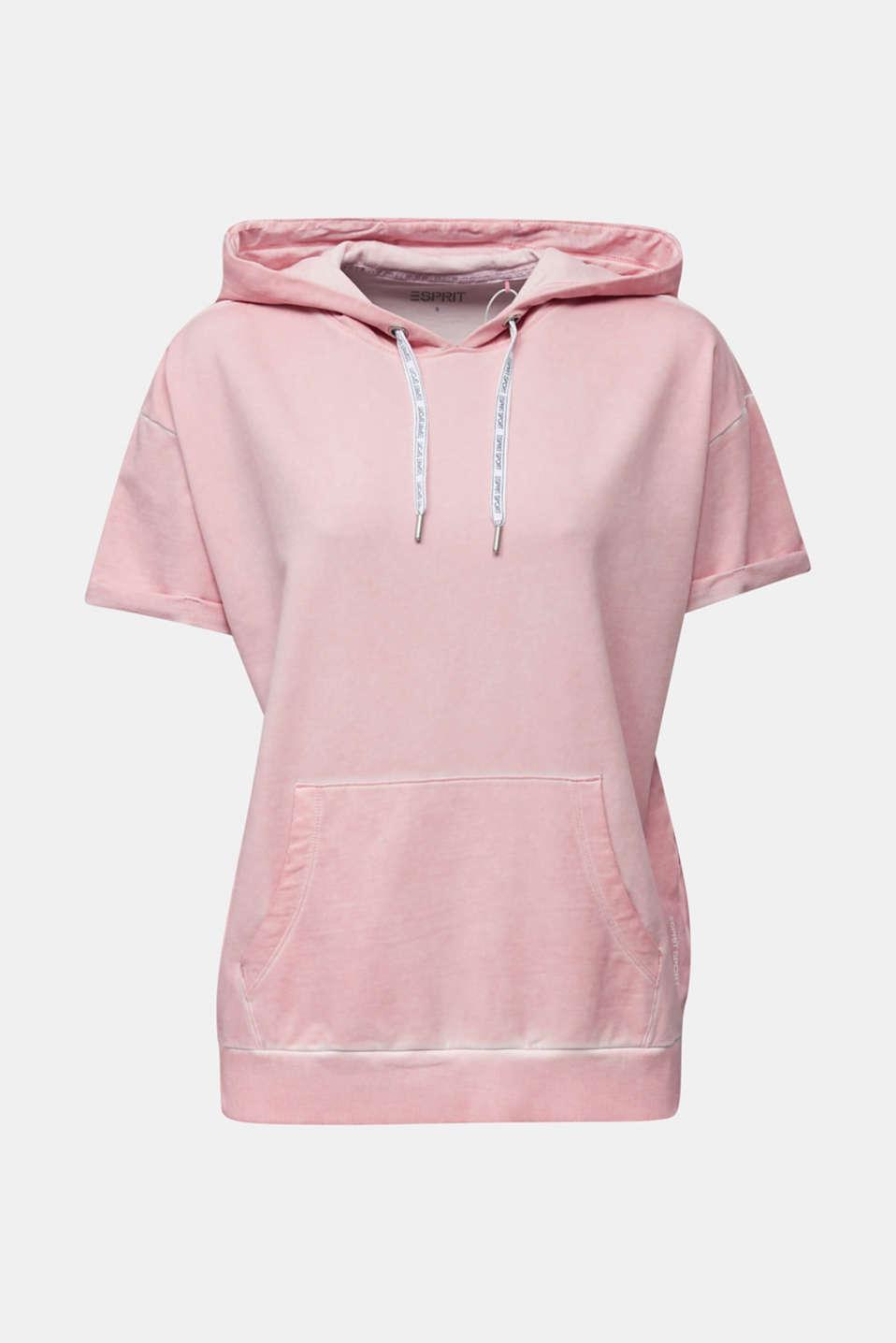 Short-sleeved hoodie in a vintage look, LIGHT PINK, detail image number 5