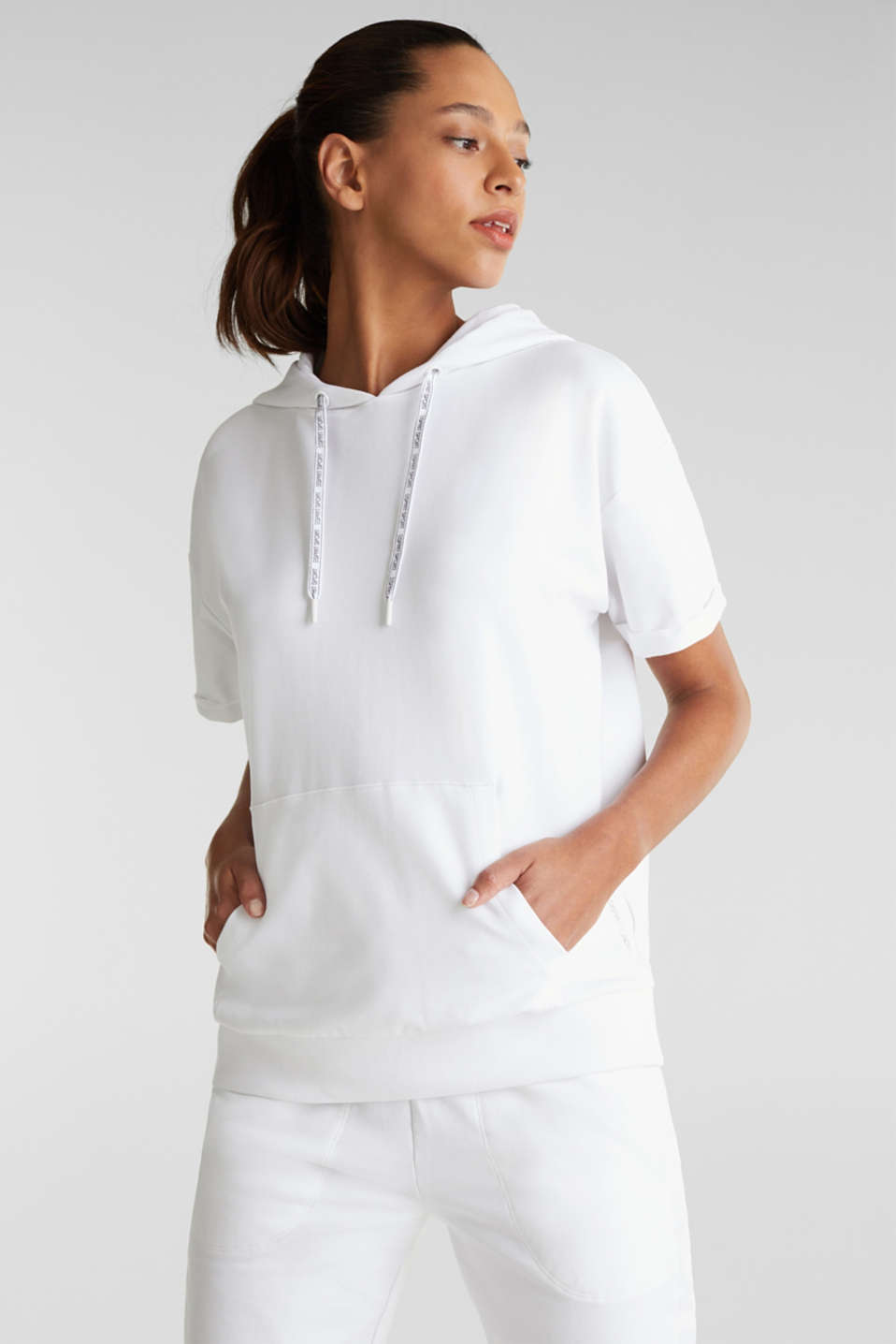 Stretch short-sleeved hoodie, WHITE, detail image number 0