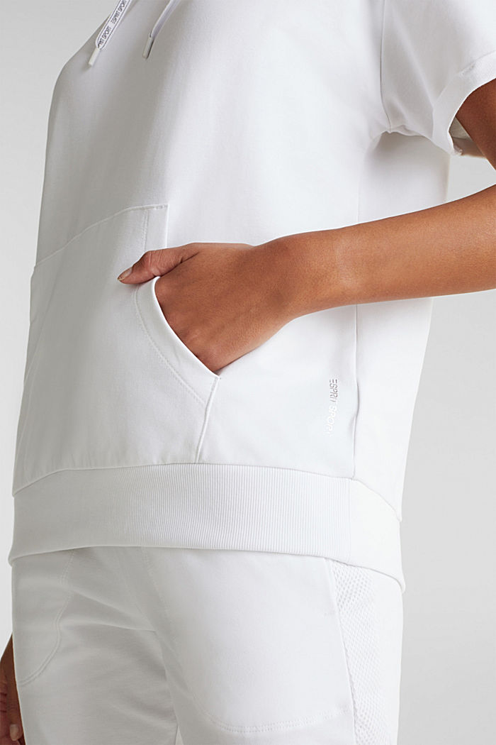 Stretch short-sleeved hoodie, WHITE, detail image number 3