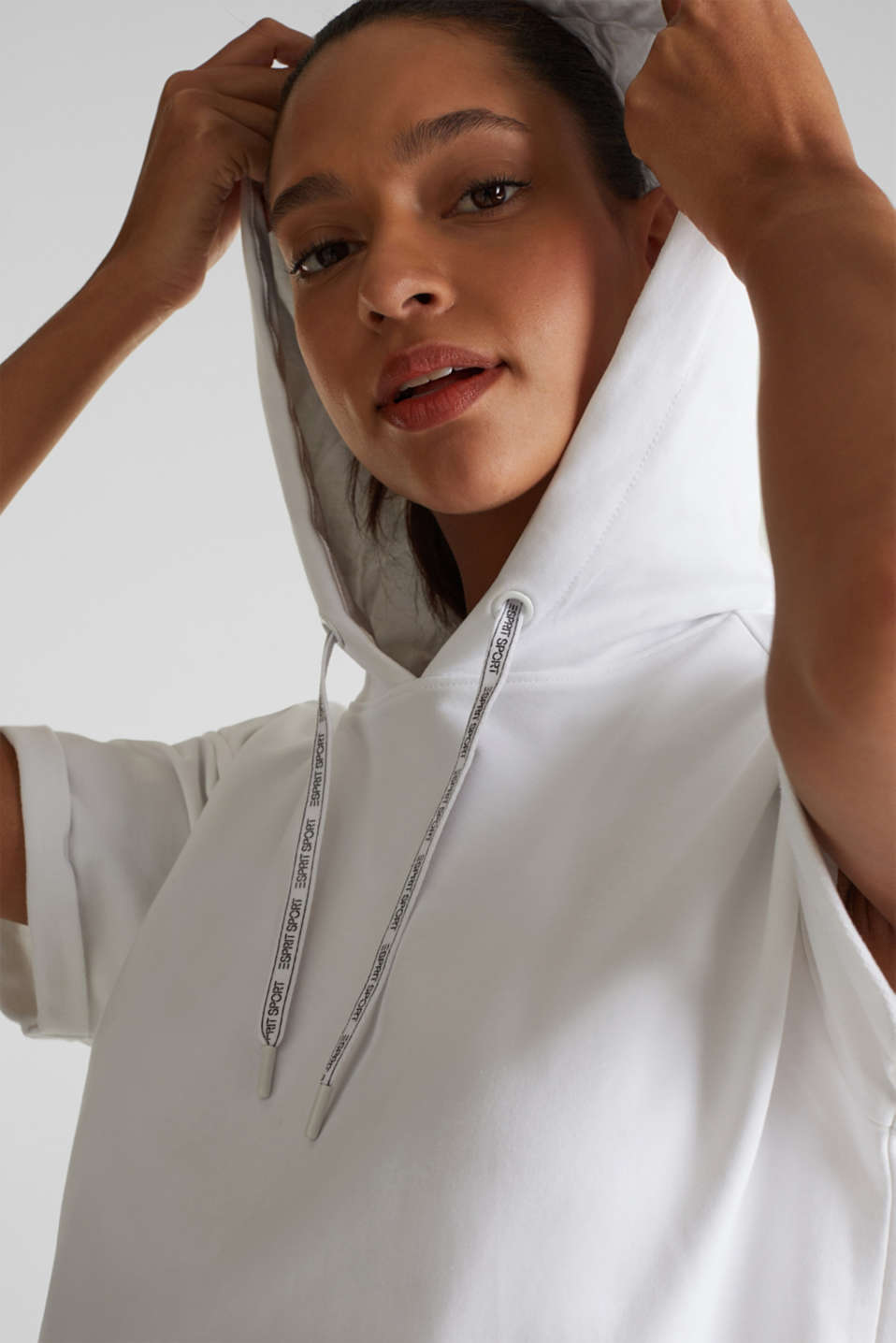 Stretch short-sleeved hoodie, WHITE, detail image number 4