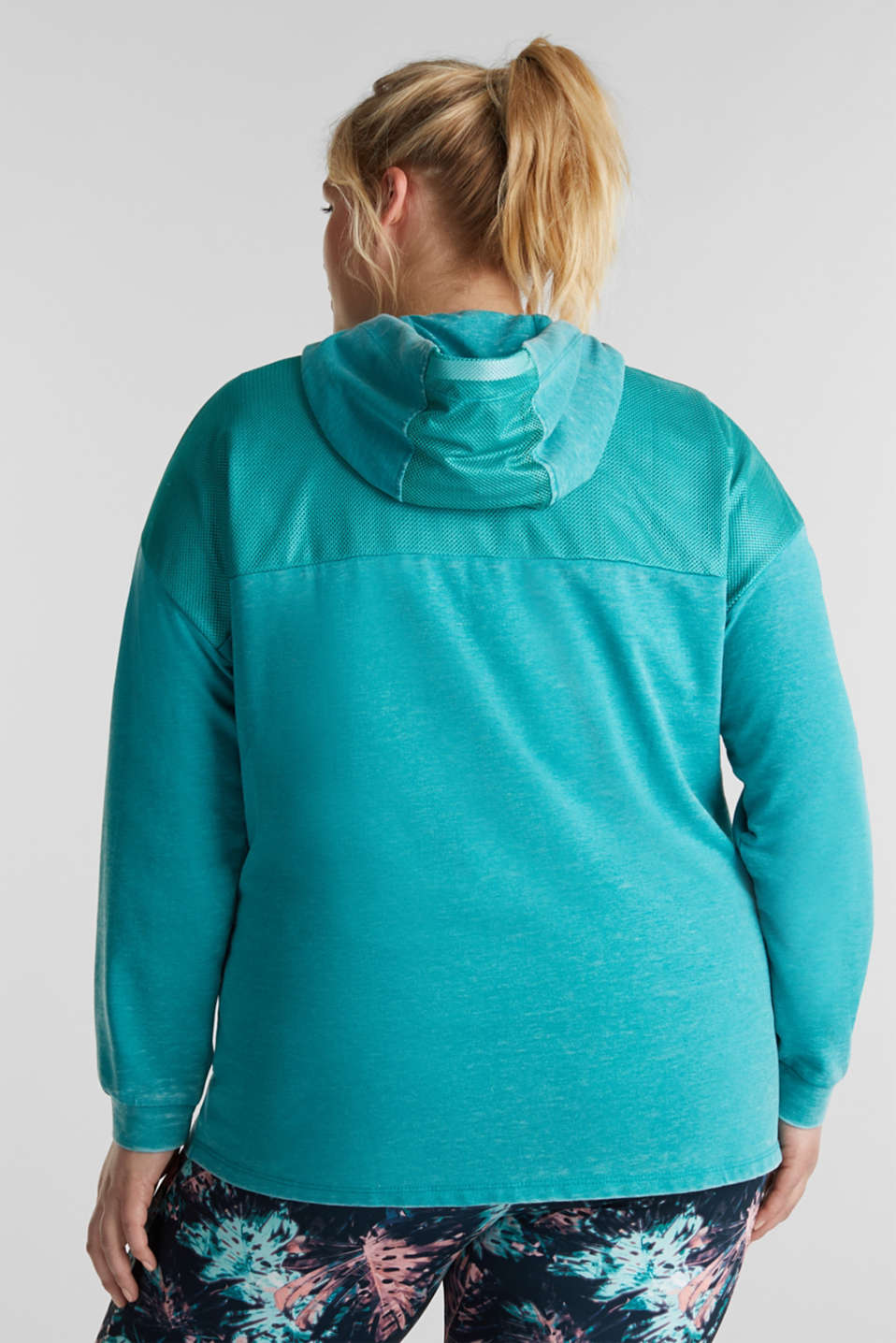 Curvy sweatshirt cardigan with a hood, TEAL GREEN, detail image number 3