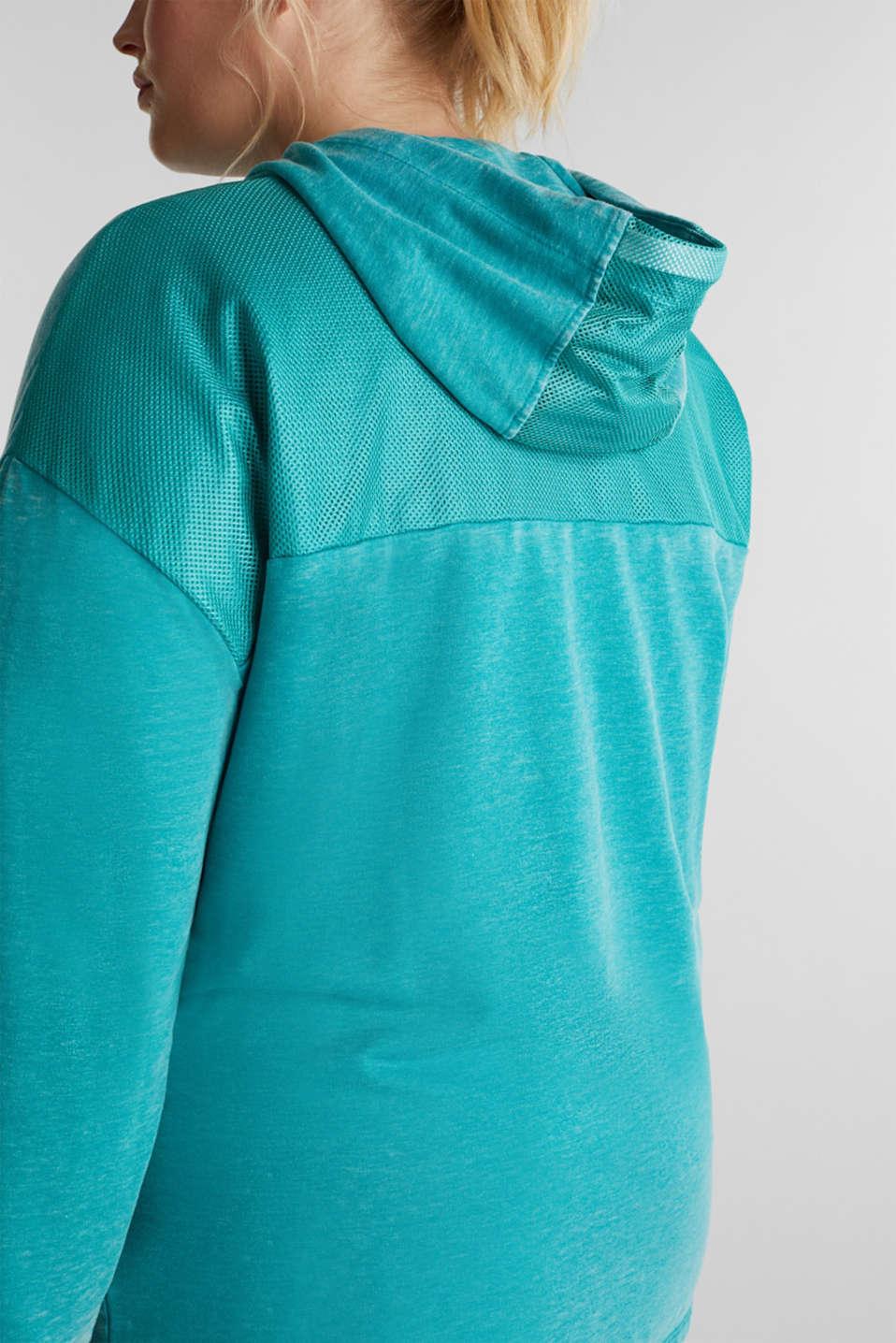 Curvy sweatshirt cardigan with a hood, TEAL GREEN, detail image number 2