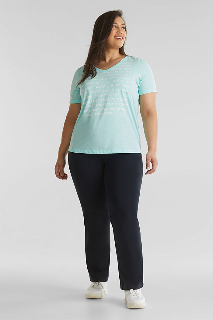 CURVY top with a statement print, TURQUOISE, detail image number 1