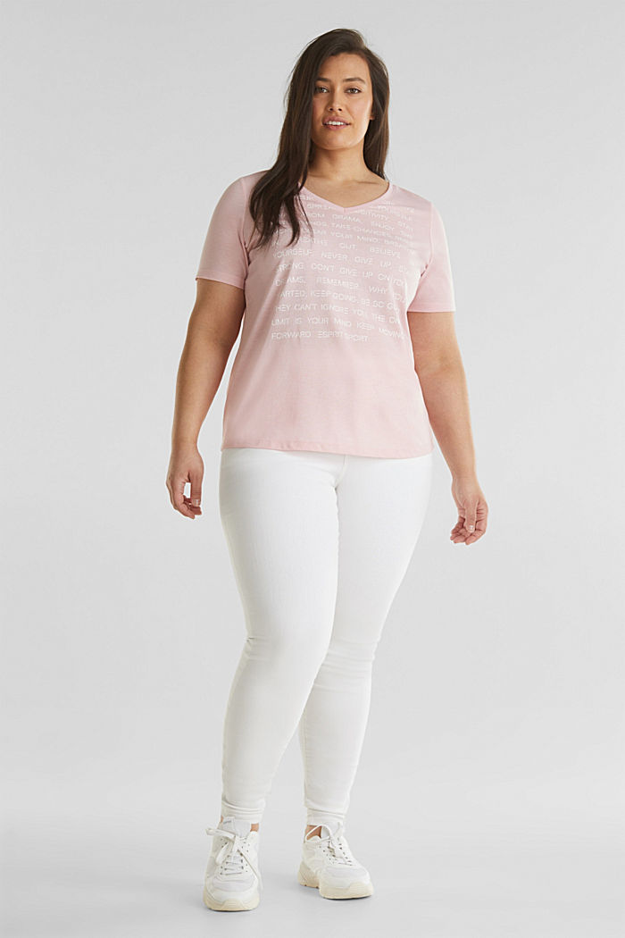 CURVY top with a statement print, LIGHT PINK, detail image number 1