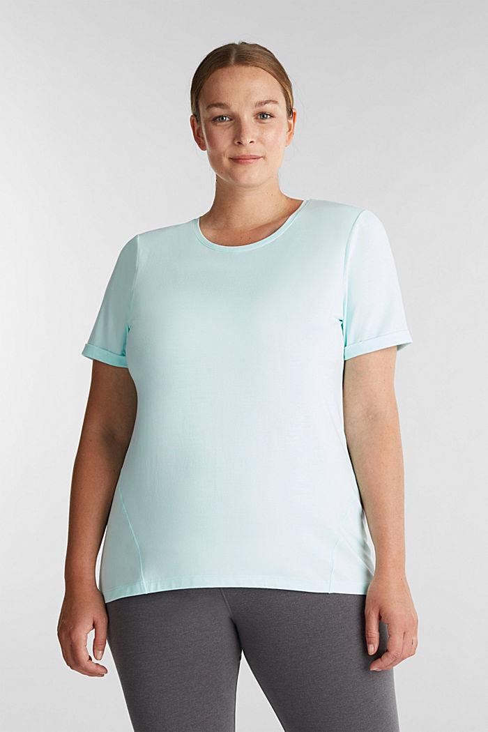 CURVY: melírované tričko, E-DRY, TURQUOISE, detail image number 0