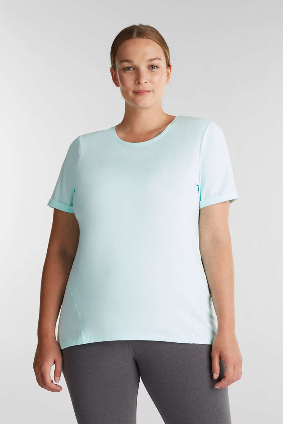 Curvy melange E-DRY top, TURQUOISE 2, detail image number 0