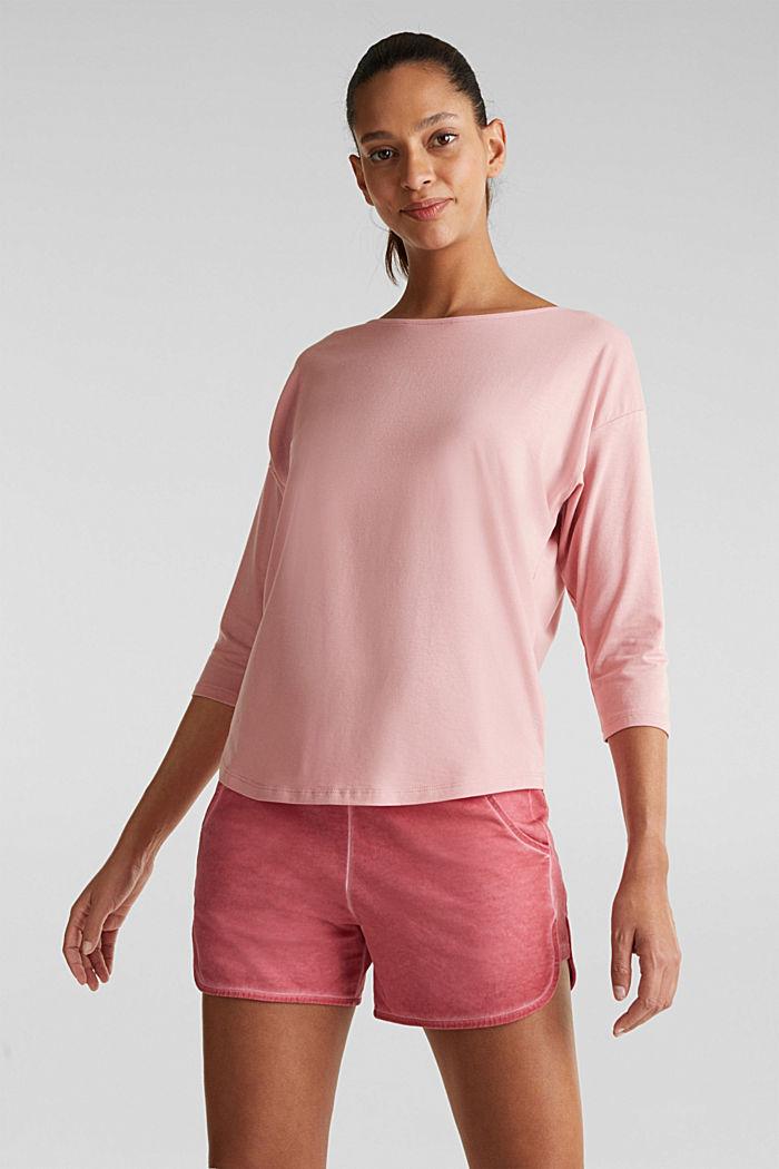 Shirt met stretch en split op de achterkant, OLD PINK, detail image number 0