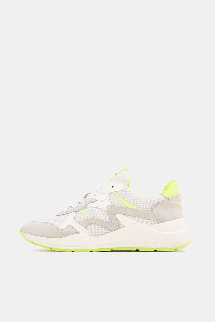 Mixed leather trainers with neon details, WHITE, overview