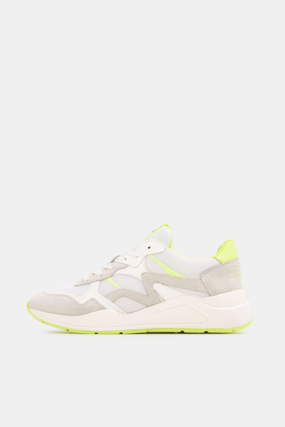 Esprit - Mixed leather trainers with neon details