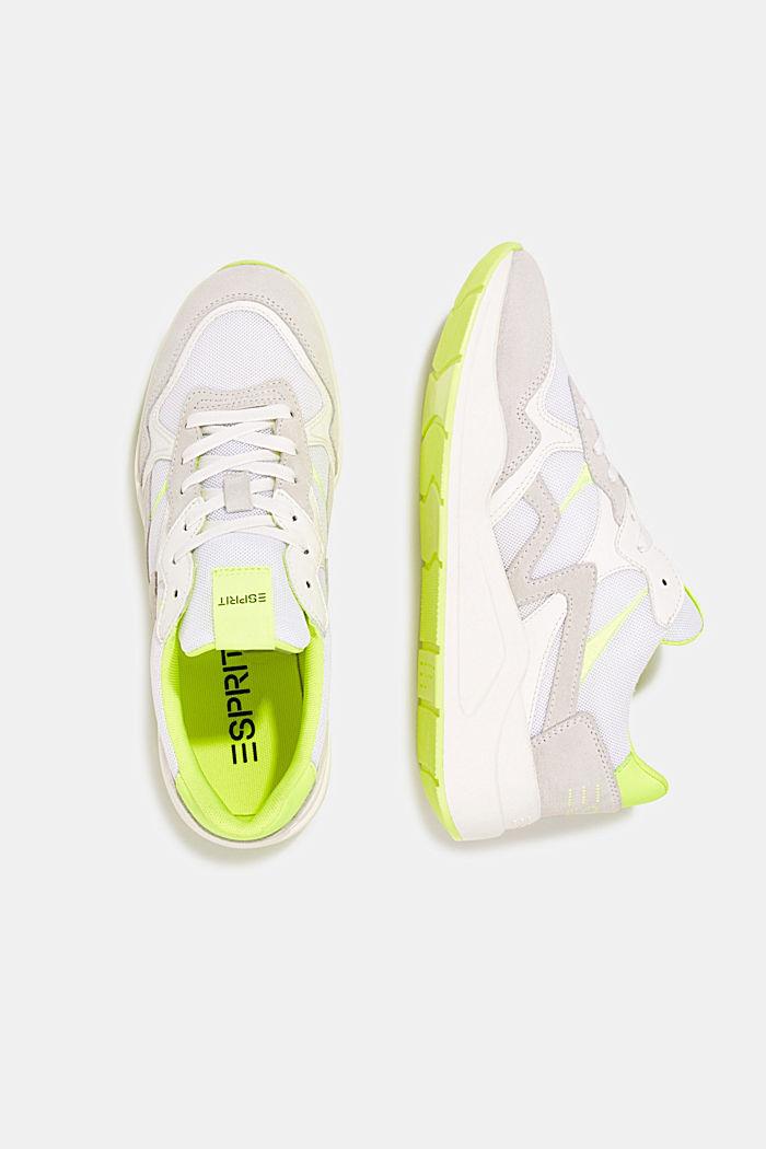 Leder-Mix-Sneaker mit Neon-Details, WHITE, detail image number 1