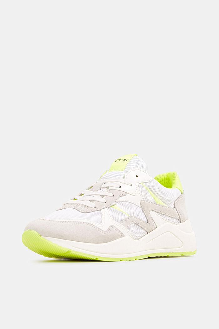 Leder-Mix-Sneaker mit Neon-Details, WHITE, detail image number 2