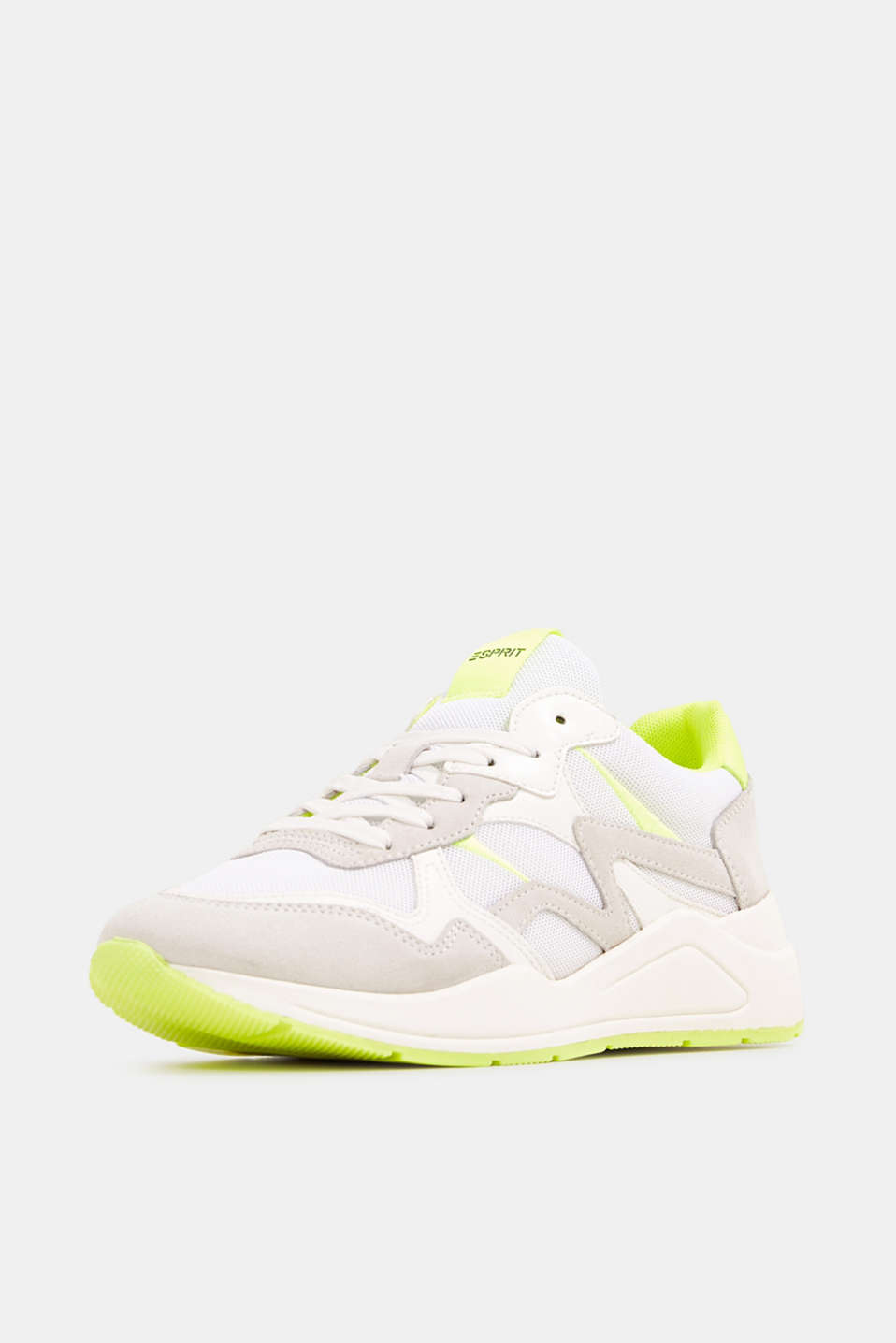 Mixed leather trainers with neon details, WHITE, detail image number 2