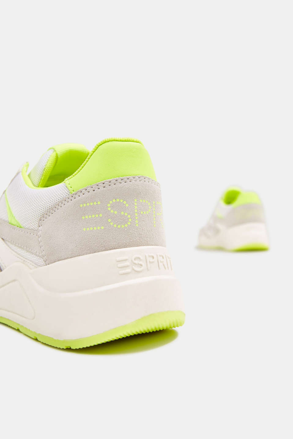 Mixed leather trainers with neon details, WHITE, detail image number 5