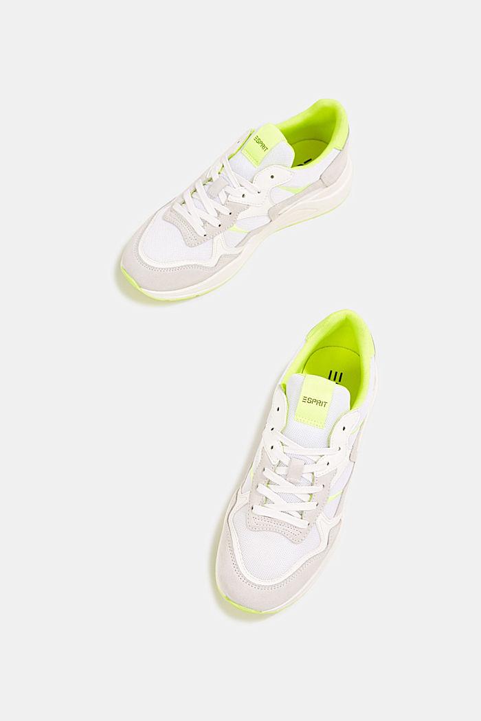 Leder-Mix-Sneaker mit Neon-Details, WHITE, detail image number 6