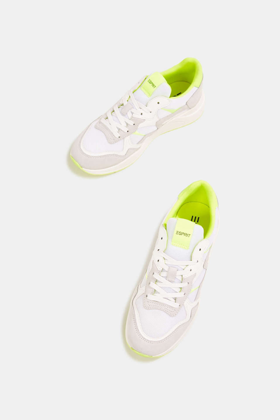 Mixed leather trainers with neon details, WHITE, detail image number 6