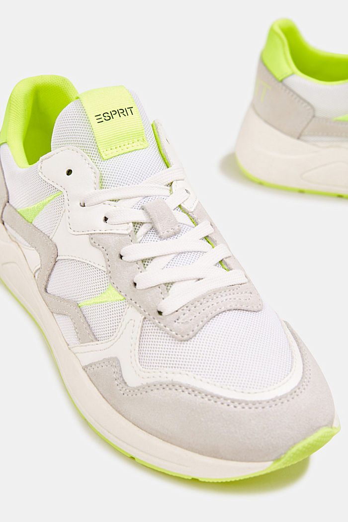 Mixed leather trainers with neon details, WHITE, detail image number 4