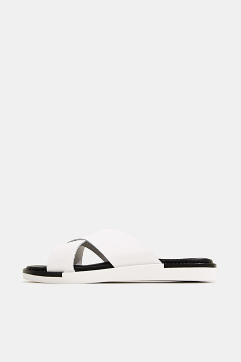 Leather slip-ons with wide straps