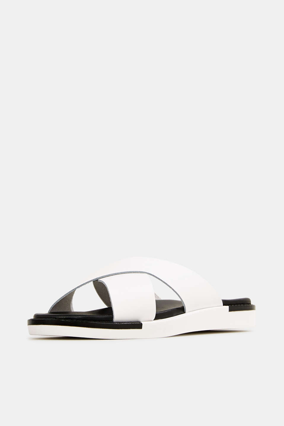 Leather slip-ons with wide straps, WHITE, detail image number 2